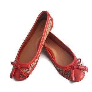 Coach Sophia Ballet Flats Poppy Red Size 7-1/2 B